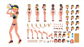 Volleyball Player Vector. Beach Volleyball Female Sport. Animated Character Creation Set. Full Length, Front, Back View. Accessories, Poses, Face Emotions Stock Photos