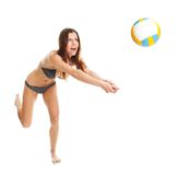 Volleyball player woman in swimwear Royalty Free Stock Images