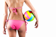 Volleyball player woman in swimwear Stock Images