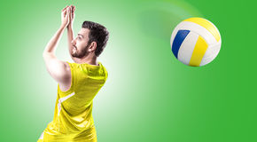 Volleyball player on yellow uniform on green background.  Royalty Free Stock Photography