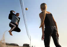 Volleyball players stock image