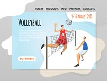 Volleyball players in abstract flat style. Vector illutration, design template of sport site, header, banner or poster. royalty free illustration