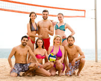 Volleyball players on a beach Royalty Free Stock Photography