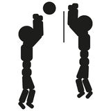 Volleyball players are playing illustration sign. Vector. Black icon on white background. Royalty Free Stock Photos