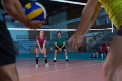 Volleyball players practicing Royalty Free Stock Photo