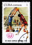 Volleyball players, series devoted to the 21th Olympic games in Montreal, 1976, circa 1976 Stock Photos