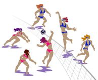 Volleyball players, women team in the match royalty free illustration