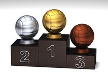 Volleyball podium. Volleyball dark wood podium with trophies on a white floor royalty free illustration