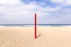 Volleyball post at the beach in red Stock Image