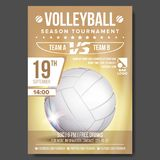 Volleyball Poster Vector. Banner Advertising. Sand Beach. Sport Event Announcement. A4 Size. Game, League Design Stock Photography