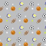 Volleyball réglé du football de basket-ball de boule de modèle illustration stock