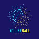 Volleyball with radius frame logo icon outline stroke set dash line design illustration isolated on dark blue background with Voll. Eyball text and copy space royalty free illustration