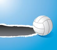 Volleyball on ripped blue banner Stock Images