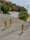 Volleyball at sandy beach Stock Images