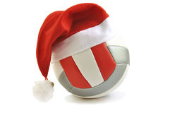 Volleyball with Santa hat. stock photos