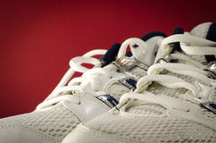Volleyball shoes ready for action. New white volleyball shoes ready for action Stock Photo