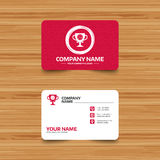 Volleyball sign icon. Beach sport symbol. Business card template with texture. Volleyball sign icon. Beach sport symbol. Winner award cup. Phone, web and Royalty Free Stock Photography