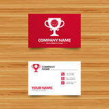 Volleyball sign icon. Beach sport symbol. Business card template. Volleyball sign icon. Beach sport symbol. Winner award cup. Phone, globe and pointer icons Royalty Free Stock Photos