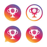 Volleyball sign icon. Beach sport symbol. Winner award cup. Gradient buttons with flat icon. Speech bubble sign. Vector Royalty Free Stock Image