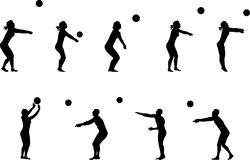 Volleyball silhouettes. Illustration of several volleyball silhouettes Royalty Free Stock Photo