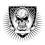 Volleyball skull shield Royalty Free Stock Images