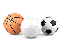 Volleyball, soccer ball, basketball, sport balls  on white background. 3D rendering Royalty Free Stock Photography