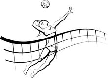 Volleyball Spike with Flowing Net Stock Images