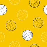 Volleyball sport ball graphic art yellow blue white background seamless pattern illustration Stock Images