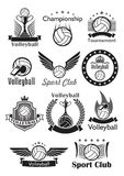 Volleyball sport club awards vector icons set. Volleyball vector icons set of sport club balls, game tournament winner cup award, victory laurel wreath and crown Stock Photography