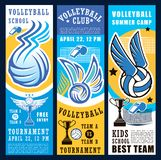 Volleyball sport game ball, net and trophy cup. Volleyball sport club teams tournament banners. Vector balls, net, winner trophy cup and referee whistle vector illustration