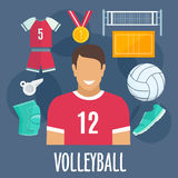 Volleyball sport equipment and outfit Royalty Free Stock Photography