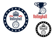 Volleyball sport game heraldic emblems Royalty Free Stock Image