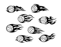 Volleyball sports tattoos. Set of volleyball sports tattoos with tribal flames Royalty Free Stock Images