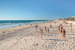 Volleyball am Strand Stockfotos