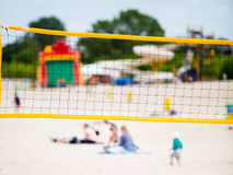Volleyball summer sport. Net on a sandy beach Stock Images