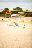 Volleyball summer sport. Net on a sandy beach Royalty Free Stock Image