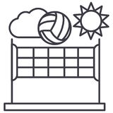 Volleyball,summer sport vector line icon, sign, illustration on background, editable strokes. Volleyball,summer sport vector line icon, sign, illustration on Stock Image