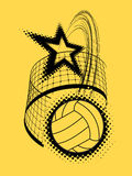 Volleyball super star design. Badge or logo. Vector illustration with halftone effect Royalty Free Stock Photo