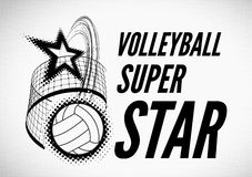 Volleyball super star design. Badge or logo. Vector illustration with halftone effect Royalty Free Stock Photography