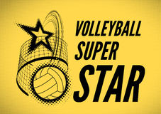 Volleyball super star design. Badge or logo. Vector illustration with halftone effect Royalty Free Stock Image