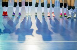 Volleyball team before the match. Training and volleyball tournament. Sports teams competition. stock photos