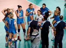 Volleyball: Tijd uit, Italië Stock Afbeelding