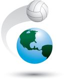 Volleyball on top of the world Royalty Free Stock Photos