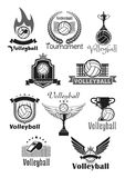 Volleyball tournament sport club vector icons set Royalty Free Stock Photos