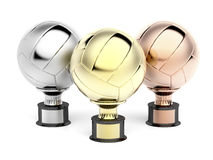 Volleyball trophies. For first, second and third place Stock Photo