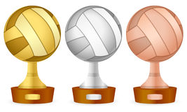 Volleyball trophy set Stock Photos
