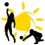 Volleyball two girl silhouette illustration Stock Photography