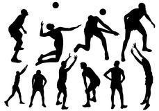 Volleyball vector. Volleyball players fine silhouettes - black sportsmen outlines on white Royalty Free Stock Image