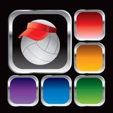 Volleyball with visor in square web buttons Stock Photos