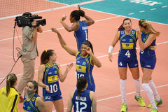 Volleyball WGP : Brazil VS Dominican Stock Images